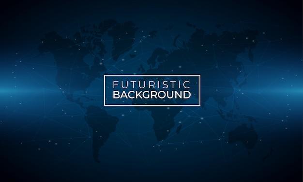 Fond lumineux bleu moderne avec carte du monde Vecteur Premium