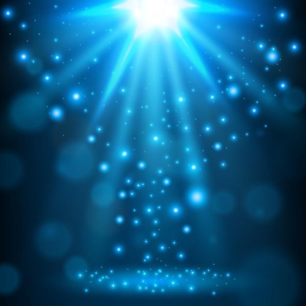 Fond lumineux de lumière bleue Vecteur Premium