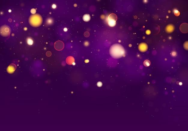 Fond Lumineux Violet Et Doré Avec Des Lumières Bokeh. Vecteur Premium