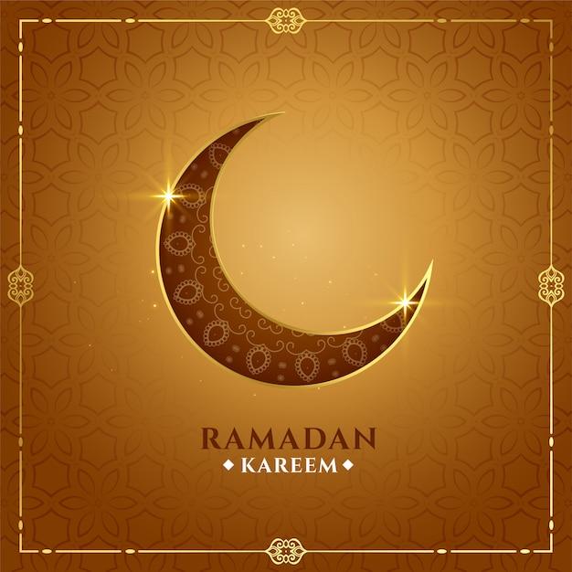 Fond De Lune D'or Ramadan Kareem Décoratif Vecteur gratuit