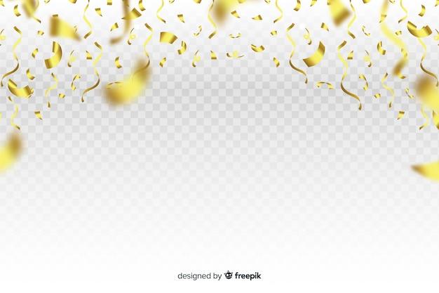 Fond de luxe avec des confettis d'or tombant Vecteur gratuit
