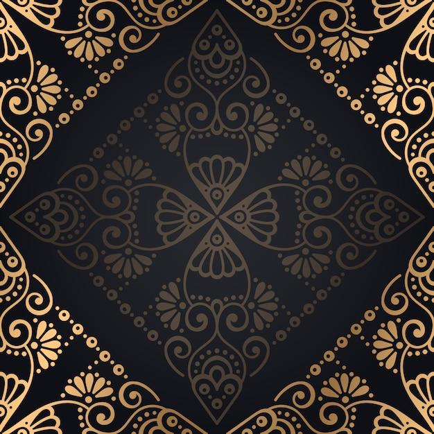 Fond de luxe mandala ornemental design dans le vecteur de couleur or Vecteur gratuit