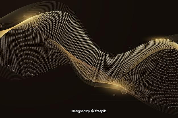 Fond de luxe avec vague dorée abstraite Vecteur gratuit