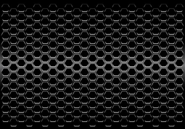 Fond de maille hexagonale métallique noire Vecteur Premium