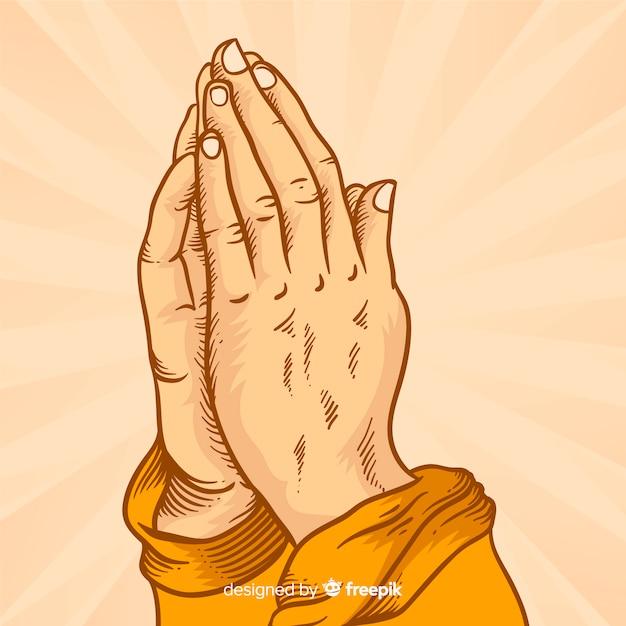 Fond de mains priant sunburst Vecteur gratuit