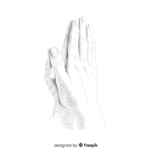 Fond de mains en prière Vecteur gratuit