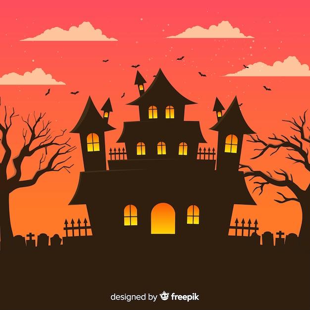 Fond de maison halloween avec cimetière Vecteur gratuit