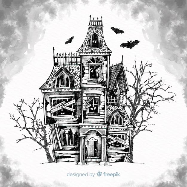 Fond de maison hantée halloween dessiné à la main Vecteur gratuit
