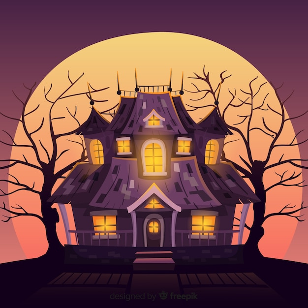 Fond De Maison Hantee D Halloween Avec Des Lumieres Degradees