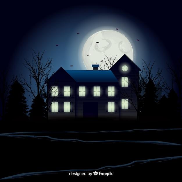 Fond de maison hantée d'halloween avec des lumières dégradées Vecteur gratuit