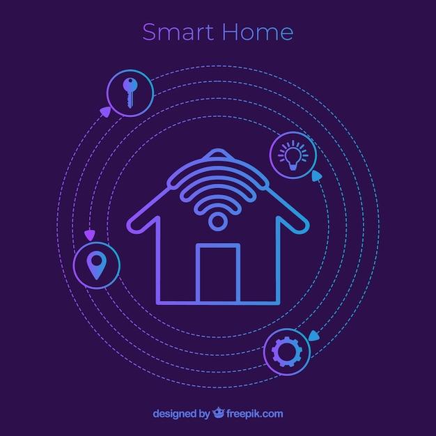 Fond de maison intelligente avec des icônes Vecteur gratuit