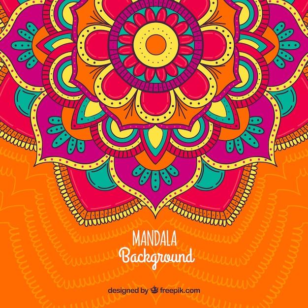 Fond de mandala aux grandes couleurs Vecteur gratuit