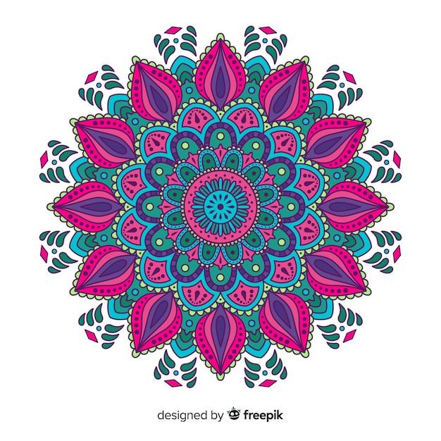 Fond de mandala belle et colorée Vecteur gratuit