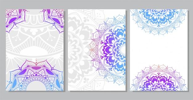 Fond de mandala coloré pour la couverture du livre, invitation de mariage, flyer, carte postale, bannière ou votre présentation Vecteur Premium