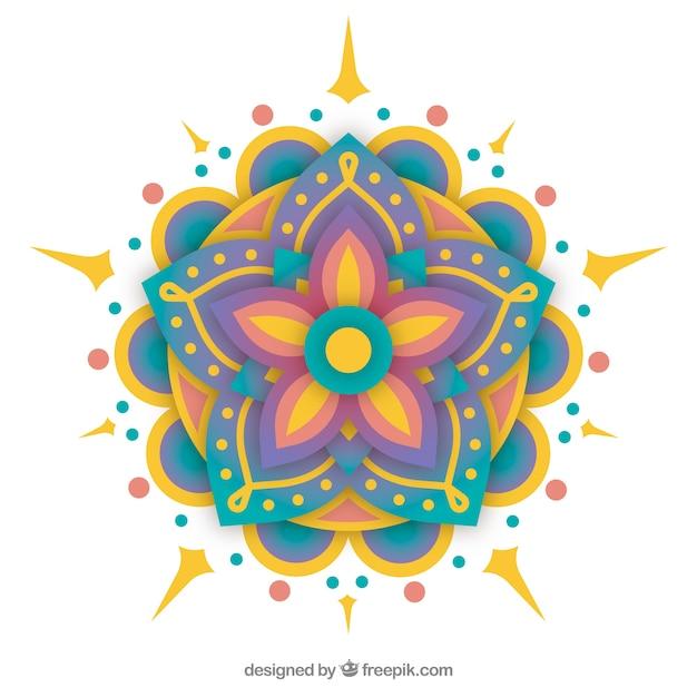 Fond de mandala coloré Vecteur gratuit