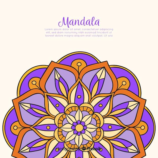 Fond de mandala décoratif dessiné à la main Vecteur gratuit