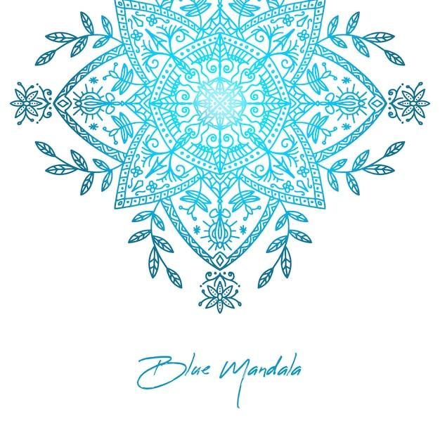 Fond de mandala dégradé bleu élégant Vecteur gratuit