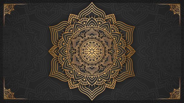 Fond De Mandala De Luxe Avec Décoration Dorée Vecteur Premium