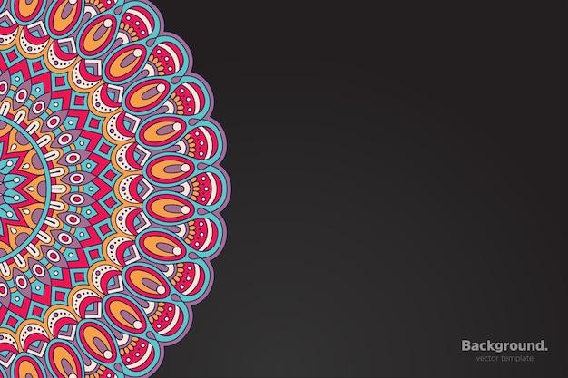 Fond De Mandala Oriental Coloré Vecteur gratuit