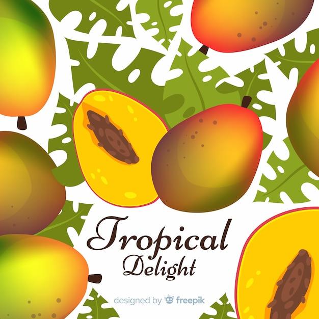 Fond de mangue et feuilles dessinées à la main Vecteur gratuit