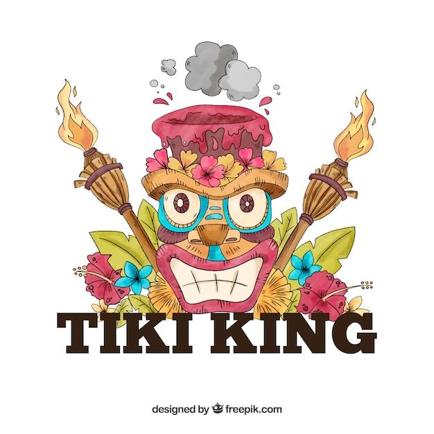 Fond de masque de roi tiki dessiné à la main Vecteur gratuit