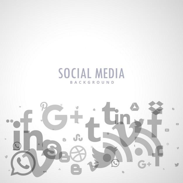 Fond des médias sociaux avec des icônes grises Vecteur gratuit