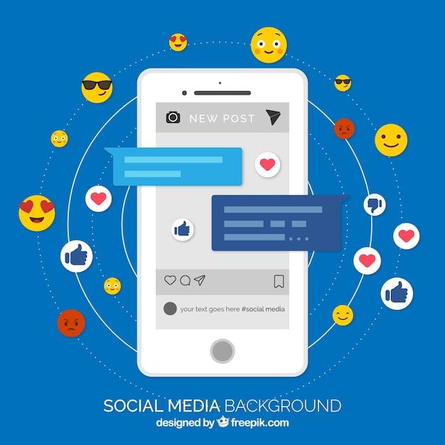 Fond de médias sociaux plat avec téléphone portable Vecteur gratuit