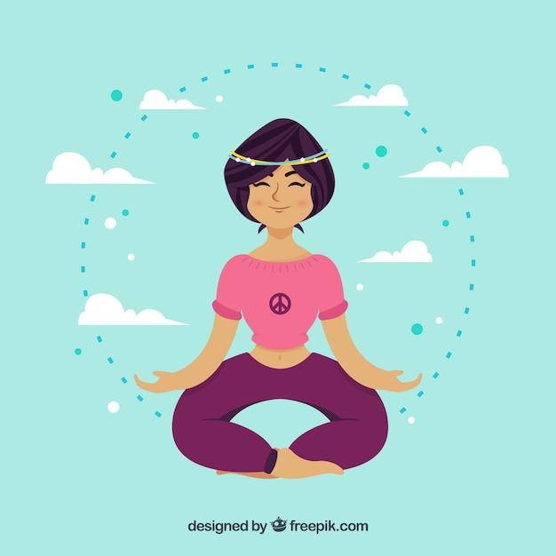 Fond de méditation de pleine conscience femme Vecteur gratuit
