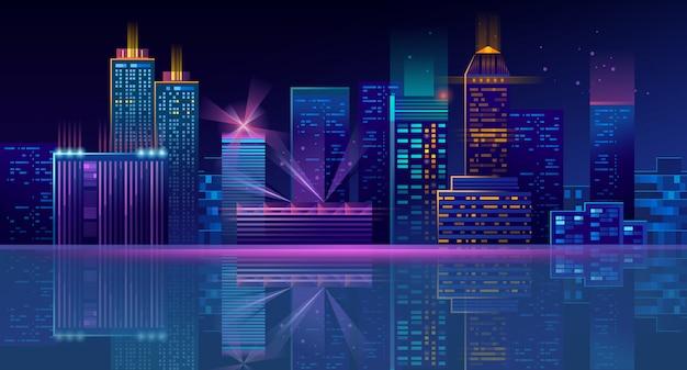 Fond de mégapole de néon avec bâtiments, gratte-ciels Vecteur gratuit