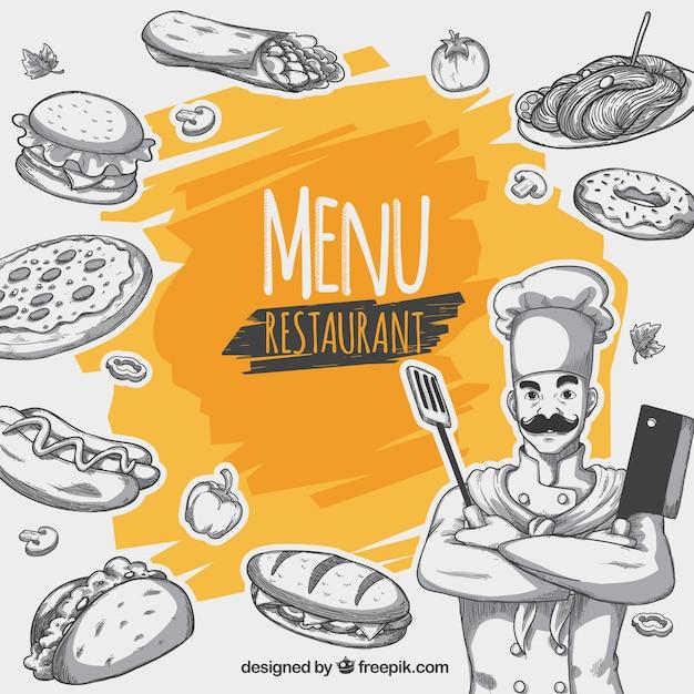 Fond de menu de restaurant Vecteur gratuit