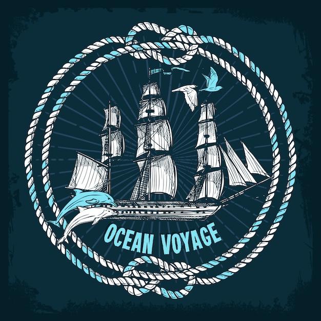 Fond de mer dessiné à la main Vecteur gratuit