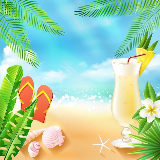 Fond de la mer tropicale Vecteur gratuit