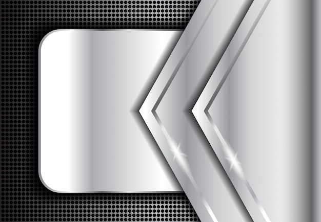 Fond métal argenté, argent abstrait sombre Vecteur Premium