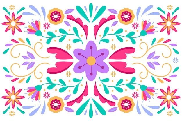 Fond Mexicain Coloré Avec Des Fleurs Et Des Feuilles Vecteur gratuit