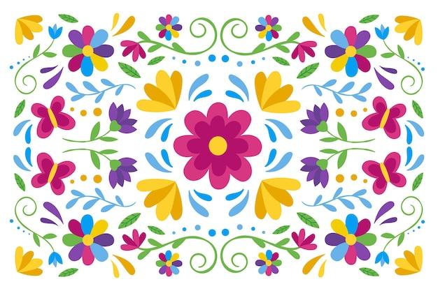 Fond Mexicain Coloré Avec Des Fleurs Vecteur gratuit