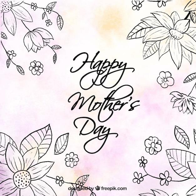 fond mignon avec des fleurs et des détails de couleur pour le jour de la mère Vecteur gratuit