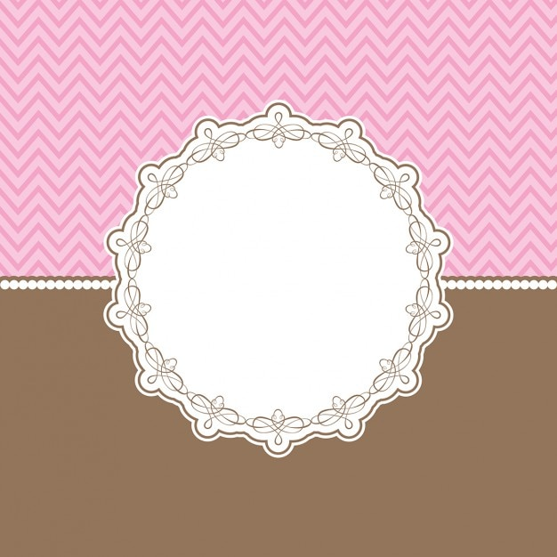 Fond mignon avec bordure décorative en rose et brun Vecteur gratuit