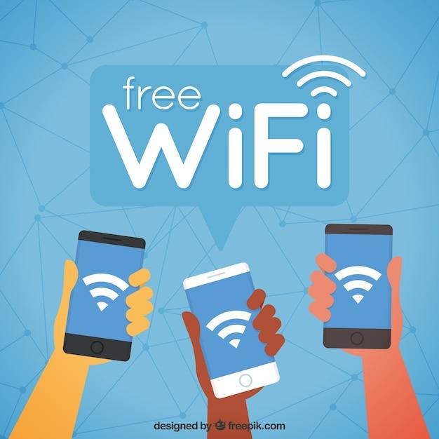 Fond Mobile Avec Wifi Dans Un Design Plat Vecteur gratuit
