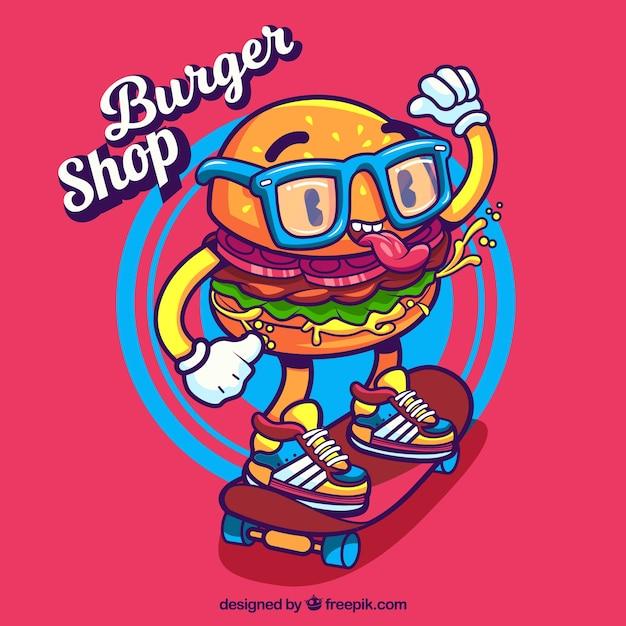 Fond moderne avec caractère hamburger Vecteur gratuit