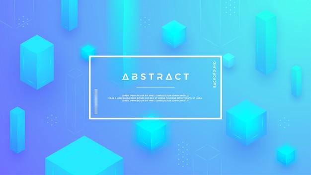 Fond moderne avec une combinaison de cubes bleus abstraits. Vecteur Premium
