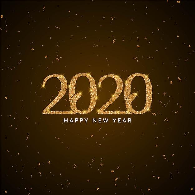 Fond moderne de nouvel an 2020 avec texte scintillant Vecteur gratuit