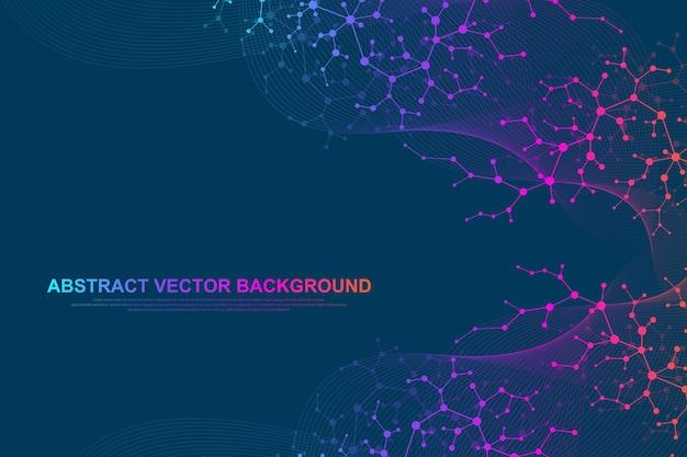 Fond De Molécule Scientifique Pour La Médecine, La Science, La Technologie, La Chimie. Fond D'écran Ou Bannière Avec Des Molécules D'adn. Illustration Dynamique Géométrique De Vecteur. Vecteur Premium