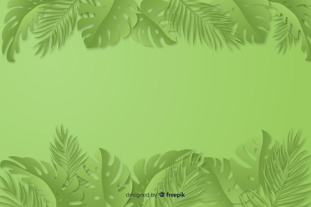 Fond monochrome vert avec des feuilles Vecteur gratuit