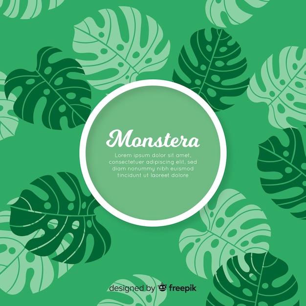 Fond de monstera dessiné à la main Vecteur gratuit
