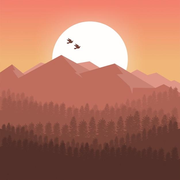 Fond de montagnes au coucher du soleil Vecteur Premium