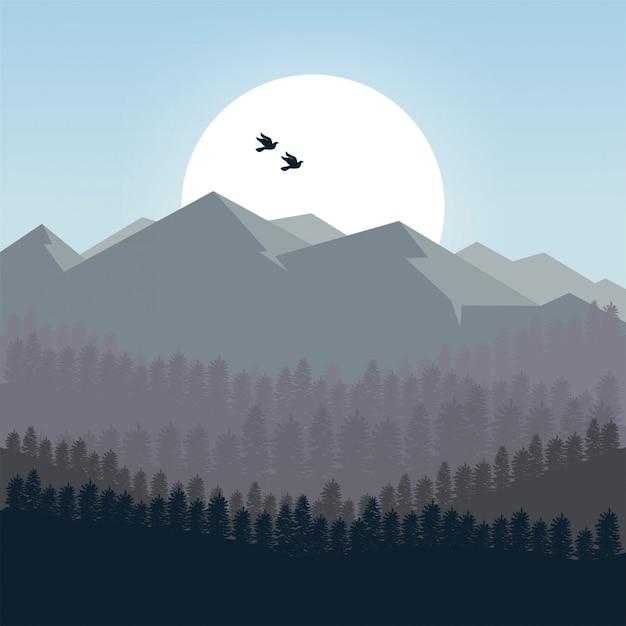 Fond de montagnes au matin Vecteur Premium