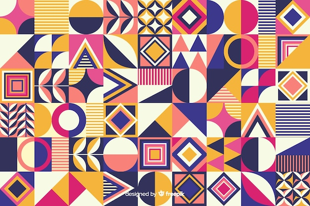 Fond de mosaïque colorée de forme géométrique Vecteur gratuit