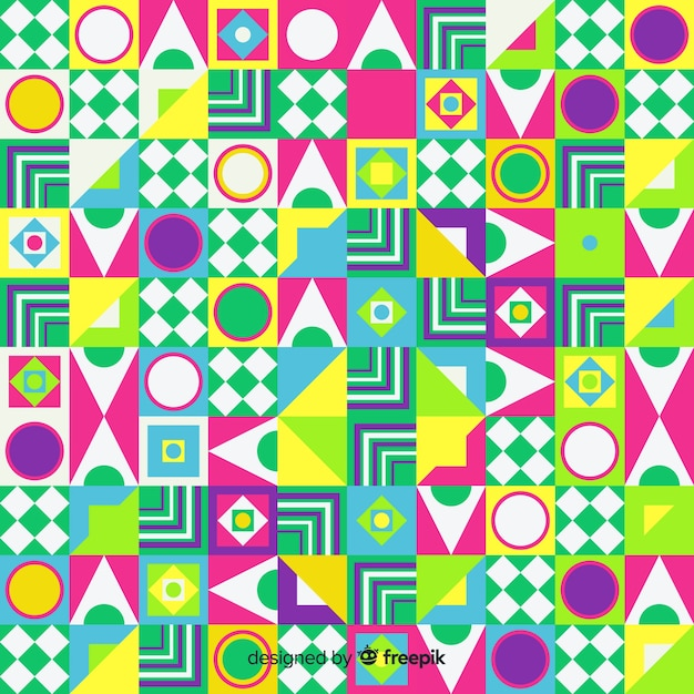 Fond de mosaïque de formes géométriques colorées Vecteur gratuit