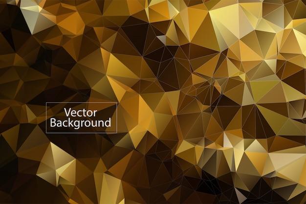 Fond de mosaïque polygonale dorée Vecteur Premium