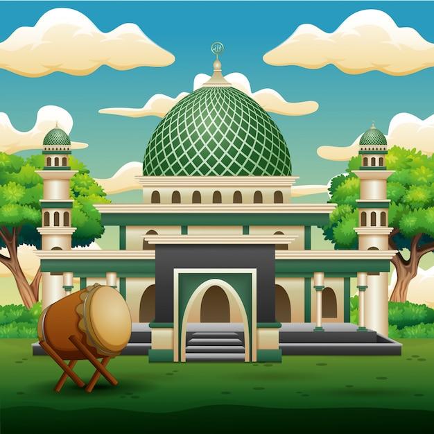 Fond de la mosquée islamique avec des plantes vertes Vecteur Premium